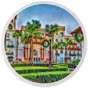 St. Augustine Downtown Christmas Round Beach Towel