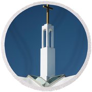 Round Beach Towel featuring the photograph St Benedicts Church Rooftop by Gary Slawsky