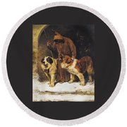 Round Beach Towel featuring the painting St. Bernards To The Rescue by John Emms