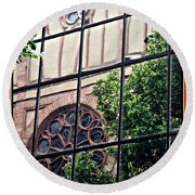 St Boniface Church In Reflection  Round Beach Towel by Sarah Loft