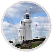 Round Beach Towel featuring the photograph St. Catherine's Lighthouse On The Isle Of Wight by Carla Parris