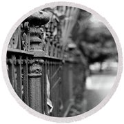 St. Charles Ave Wrought Iron Fence Round Beach Towel
