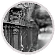 Round Beach Towel featuring the photograph St. Charles Ave Wrought Iron Fence by KG Thienemann
