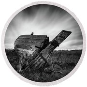 St Cyrus Wreck Round Beach Towel by Dave Bowman