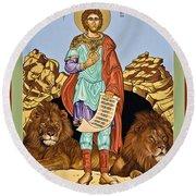 St. Daniel In The Lion's Den - Lwdld Round Beach Towel