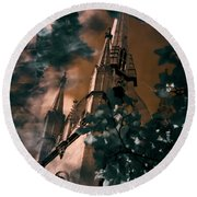 Round Beach Towel featuring the photograph St Dunstan In The East Tower by Helga Novelli