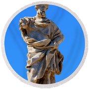 St. Eusignius Statue Round Beach Towel