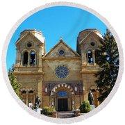 St. Francis Cathedral Santa Fe Nm Round Beach Towel by Joseph Frank Baraba