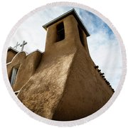 Round Beach Towel featuring the photograph St. Francis Church Taos by Marilyn Hunt