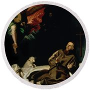 St Francis Comforted By An Angel Musician Round Beach Towel