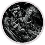 St. George And The Dragon Round Beach Towel