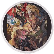 St George And The Dragon Round Beach Towel