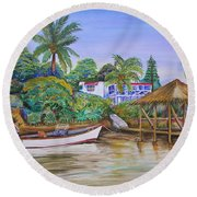 Round Beach Towel featuring the painting St. George Harbor by Patricia Piffath