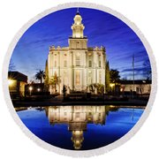 St George Temple Reflection Round Beach Towel