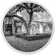 St. Helena Tabby Church Round Beach Towel