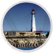 St. Ignace Lighthouse Round Beach Towel