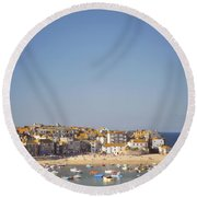 Round Beach Towel featuring the photograph St Ives Harbour by Lyn Randle