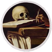 St. Jerome Writing Round Beach Towel