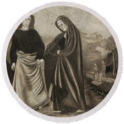 St. John And Blessed Mother At The Tomb Round Beach Towel