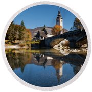 Round Beach Towel featuring the photograph St. John The Baptist On The Lake Bohinj by Davor Zerjav