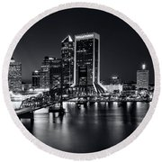 St Johns River Skyline By Night, Jacksonville, Florida In Black And White Round Beach Towel