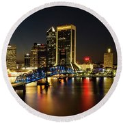 St Johns River Skyline By Night, Jacksonville, Florida Round Beach Towel