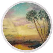 St. Johns Sunset Round Beach Towel