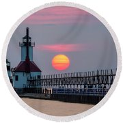 Round Beach Towel featuring the photograph St. Joseph Lighthouse At Sunset by Adam Romanowicz