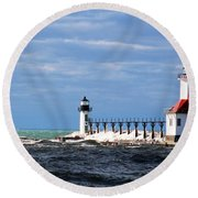 St. Joseph Lighthouse - Michigan Round Beach Towel