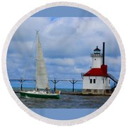 St. Joseph Lighthouse Sailboat Round Beach Towel