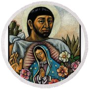 St. Juan Diego And The Virgins Image - Jljdv Round Beach Towel