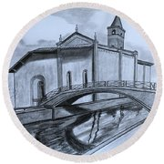 St. Jules Cathedral  Round Beach Towel