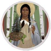 St. Kateri Tekakwitha Of The Iroquois - Rlktk Round Beach Towel