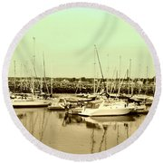 St. Lawrence Seaway Marina Round Beach Towel