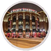 St Louis Busch Stadium  Round Beach Towel