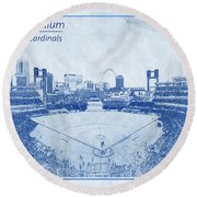 Round Beach Towel featuring the photograph St. Louis Cardinals Busch Stadium Blueprint Words by David Haskett