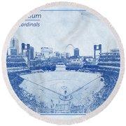 St. Louis Cardinals Busch Stadium Blueprint Words Round Beach Towel