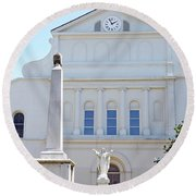 St. Louis Cathedral Back Lawn Round Beach Towel