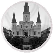 St Louis Cathedral On Jackson Square In The French Quarter New Orleans Black And White Round Beach Towel