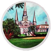 St. Louis Cathedral New Orleans Art Round Beach Towel by Ecinja Art Works