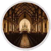 St. Louis Catholic Church Of Castroville Texas Round Beach Towel
