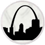 St Louis Silhouette With Boats 2 Round Beach Towel