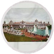 St. Louis World's Fair Palace Of Electricity Round Beach Towel