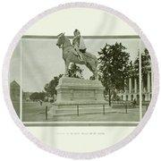 St. Louis World's Fair Statue Of De Soto Round Beach Towel