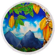St. Lucia Cocoa Round Beach Towel