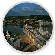St. Lucia In The Evening Round Beach Towel
