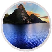 Round Beach Towel featuring the photograph St. Lucia's Cobalt Blues by Karen Wiles