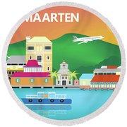 St. Maarten Horizontal Scene Round Beach Towel