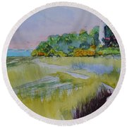 St. Marks Lighthouse Beachfront Round Beach Towel