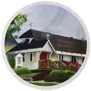 Round Beach Towel featuring the painting St Marks Newport by Donna Walsh
